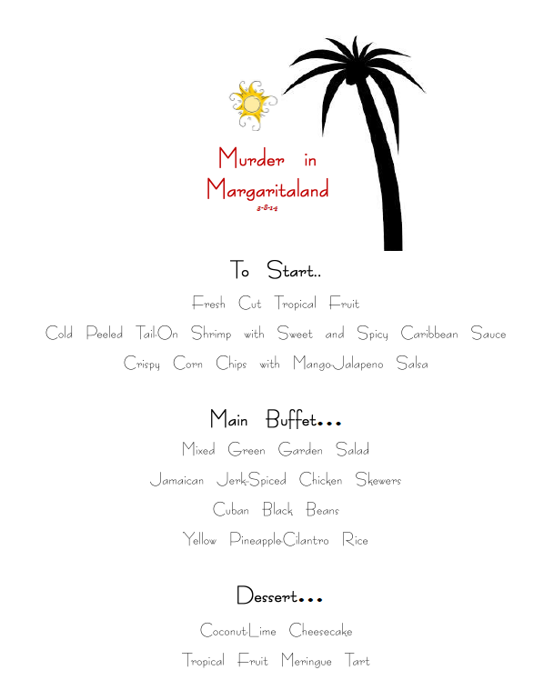Murder in Margaritaland Menu