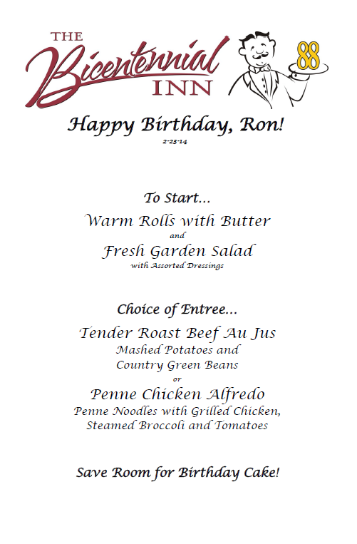 Ron's Birthday Special Menu